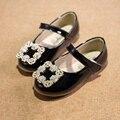 Crianças sapatos de Verão 2016 Sandálias de couro Crianças Sapatos Único bebê meninas Princesa strass Bowtie Plana Sapatos Casuais