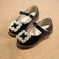 Kids shoes 2016 Spring Summer Children leather Sandals Single Shoes baby girls Princess  rhinestone Bowtie Flat Casual Shoes