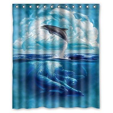 CHARMHOME 2017 Free Shipping Custom Cute Dolphin Shower Curtain Waterproof  Fabric Shower Curtains Bathroom Curtain(