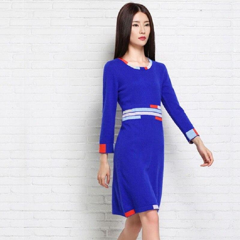 Royal Mode En Nouveau Femme Dessus Automne D'hiver Jumper Bleu Femmes Pulls Chaud Cashmere Longues Blue Pull Jersey Fille EqXHXaA