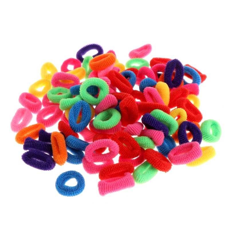 100 ชิ้นเด็กที่มีสีสันผม Tie วงเชือกแหวนผมหางม้า W15