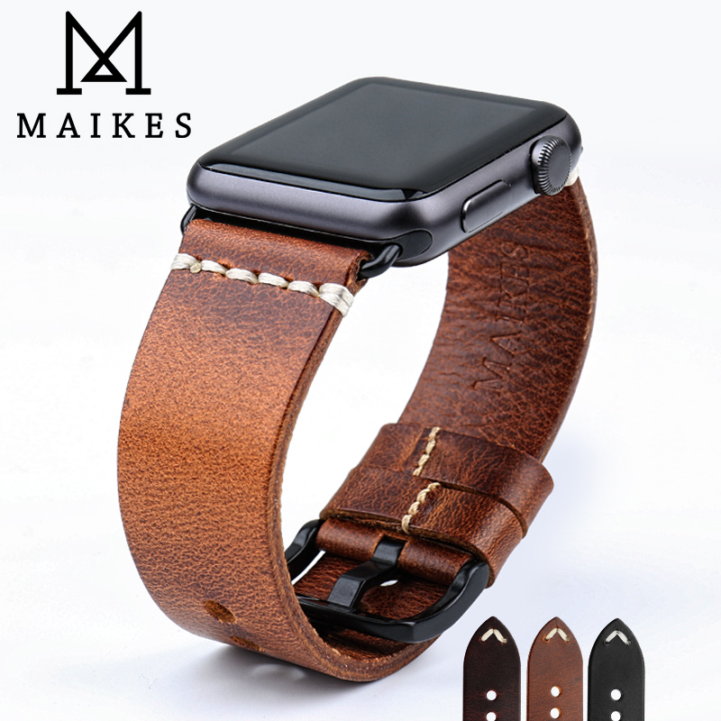 MAIKES Special Cow Leather Watch Strap Replacement For Apple Watch Band 44mm 40mm / 42mm 38mm Series 4 3 2 1 iWatch Watchband 38mm 42mm apple watchband special design handmade leather watch strap 4 color available for iwatch apple watch free shiping