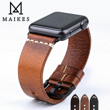 MAIKES Special Cow Leather Watch Strap Replacement For Apple Watch Band 44mm 40mm / 42mm 38mm Series 4 3 2 1 iWatch Watchband leather band for apple watch 40mm 44mm series 4 high quality mixed color replacement strap for iwatch series 1&2&3 38mm 42mm