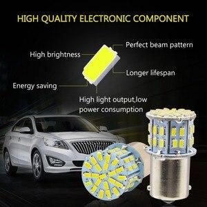 Image 3 - Safego 4 stücke 1156 BA15S LED Auto Lampen P21W Blinker Licht 7506 50 SMD 3014 Weiß Lampe 6000 K 12 V rücklichter Bremsleuchten