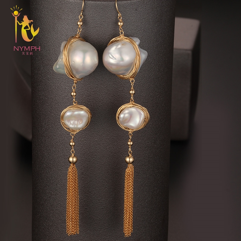 [NYMPH] Long Tassel Pearl Earrings Fine Jewelry Natural Big Baroque Pearl Earrings For Women Fashion Gift For Party E337 недорго, оригинальная цена
