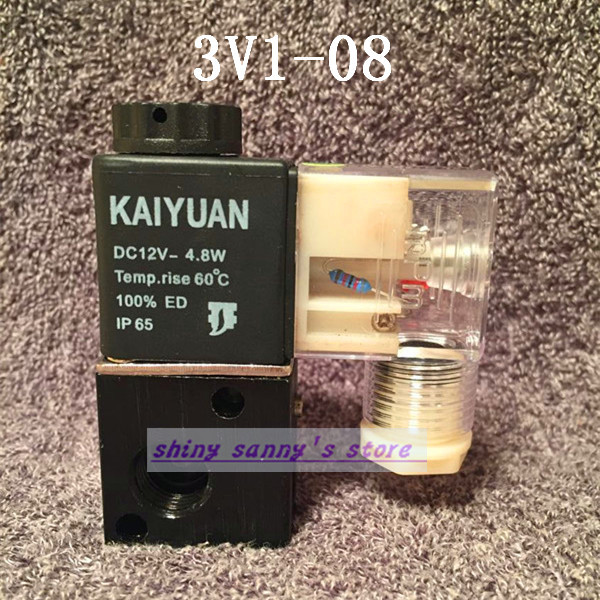 1Pcs 3V1-08 220V AC 3Port 2Position 1/4 BSP Normally Closed Solenoid Air Valve Coil LED Brand New brand new high quality 1 4 ac 220v 3way 2position pneumatic electric solenoid valve npt air aluminum