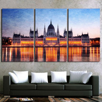 HD Printed Canvas Pictures Wall Art Frameless 3 Pieces Budapest Parliament Painting European Palace Poster Living