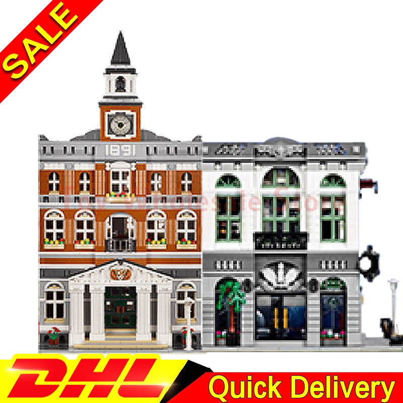 LEPIN 15001 Brick Bank + Lepin 15003 The town hall Model Building Street Sight Kits Blocks Bricks lepins Toy Clone 10251 10224 new lepin 15003 2859pcs the topwn hall model building blocks kid toys kits compatible with 10224 educational children day gift