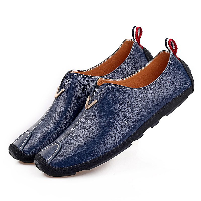 Men Casual Shoes Genuine Leather 2016 Driving Moccasins Slip on Men's Shoe Boat Shoes Loafers Men Shoes Zapatos Hombre Size38-44 men s slip on loafers casual crocodile leather loafers breathable moccasins shoes boat shoes driving shoes flat shoes for men