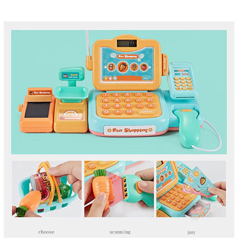 Image 4 - 24Psc/set Electronic Supermarket Cash Register Kits Kids Toy Simulated Checkout Counter Role Pretend Play Cashier Shopping Toys-in Groceries Toys from Toys & Hobbies