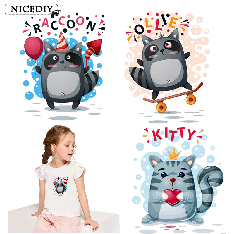 Nicediy Cartoon Cute Stickers On T-shirt Cat Raccoon Iron Heat Transfer For Clothing Animal Vinyl Thermal Transfers Applique