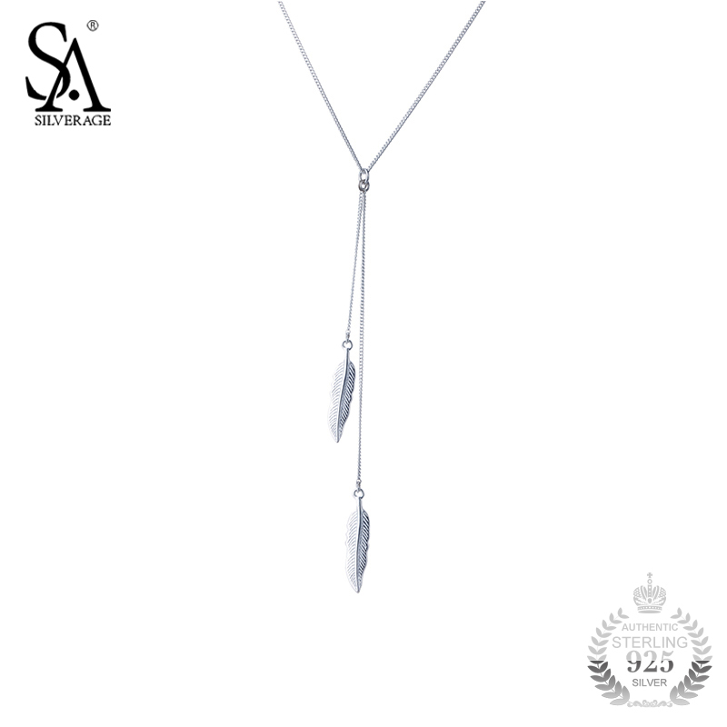 SA SILVERAGE Silver Chain Necklace Leaves Pendant Genuine 925 Sterling Silver Feather Necklace For Women Gift