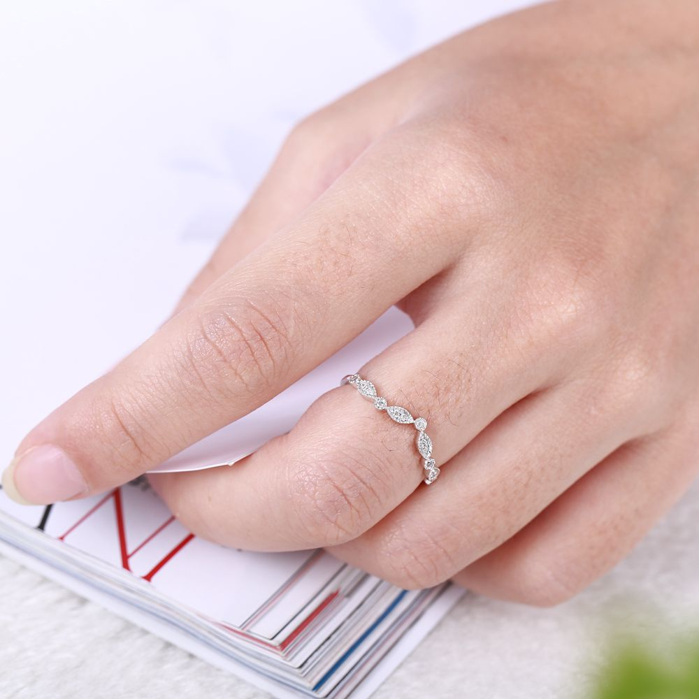 Art Deco 14k Solid White Gold SI/H Natural Diamonds Engagement Ring ...