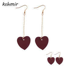 Accessories manufacturer Contracted original mahogany Love red wine Peach heart temperament long earrings