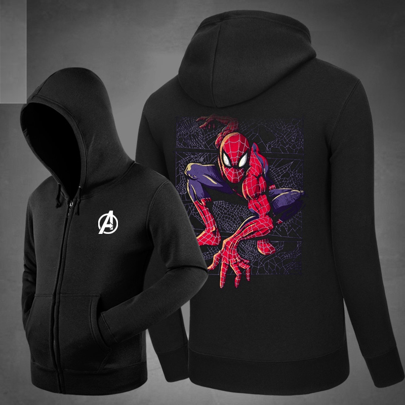 2017 New Spiderman <font><b>Spider</b></font> <font><b>Web</b></font> Unisex Cotton Zipper <font><b>Coat</b></font> Hoodies Side pockets Hoody Sweatshirts Outerwear