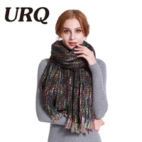 URQ 2017 Unique Design Large Size Woman Winter Scarf Colorful Knitted Lady Long Acrylic Scarves