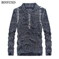 BINYUXD Wool Cotton Men Sweater Pullover Knitwear Warm Tops Large Size Male Knitted Sweater Coat 2017