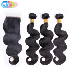 BY Hair Pre-Colored Brazilian Non-remy Hair 3 Bundle Body Wave With 4×4 Lace Closure Free Part Human Hair Weave Natural Color