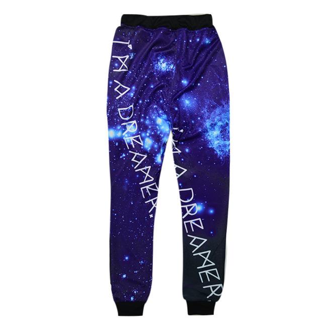 Nova moda japonesa harajuku 3d galaxy sky calças dos homens/mulheres casual longo moletom azul projeto calças basculador hip hop roupas