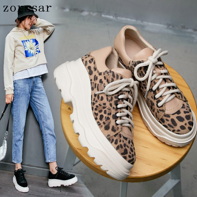 2019 Spring women flats shoes   leather     suede   Leopard platform sneakers women shoes ladies casual lace up flats creepers moccasins