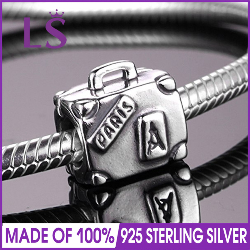 LS High Quality Real 925 Silver Suitcase Charm Beads Fit Original Bracelets Pulseira Encantos.100% Original Fine Jewlery.J