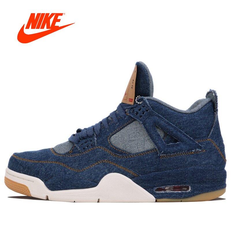 Original Nike Air Jordan 4 AJ4 vaqueros de los hombres zapatillas de baloncesto deportes al aire libre para la primavera de 2018 de NIKE zapatillas de deporte para hombres AO2571-401