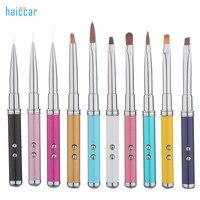 HAICAR 10 sztuk Profesjonalne Brush Nail Art Porady Kryształ Akryl Rysunek Polski laserowy Długopis ekran dotykowy Dość Manicure Narzędzia