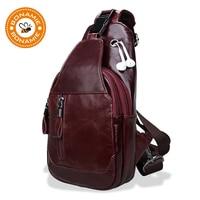 BONAMIE Brand Genuine Leather Mens Chest Pack Sling Bag Single Shoulder Bag Messenger Crossbody Bag for Man Bolsas Masculina Red