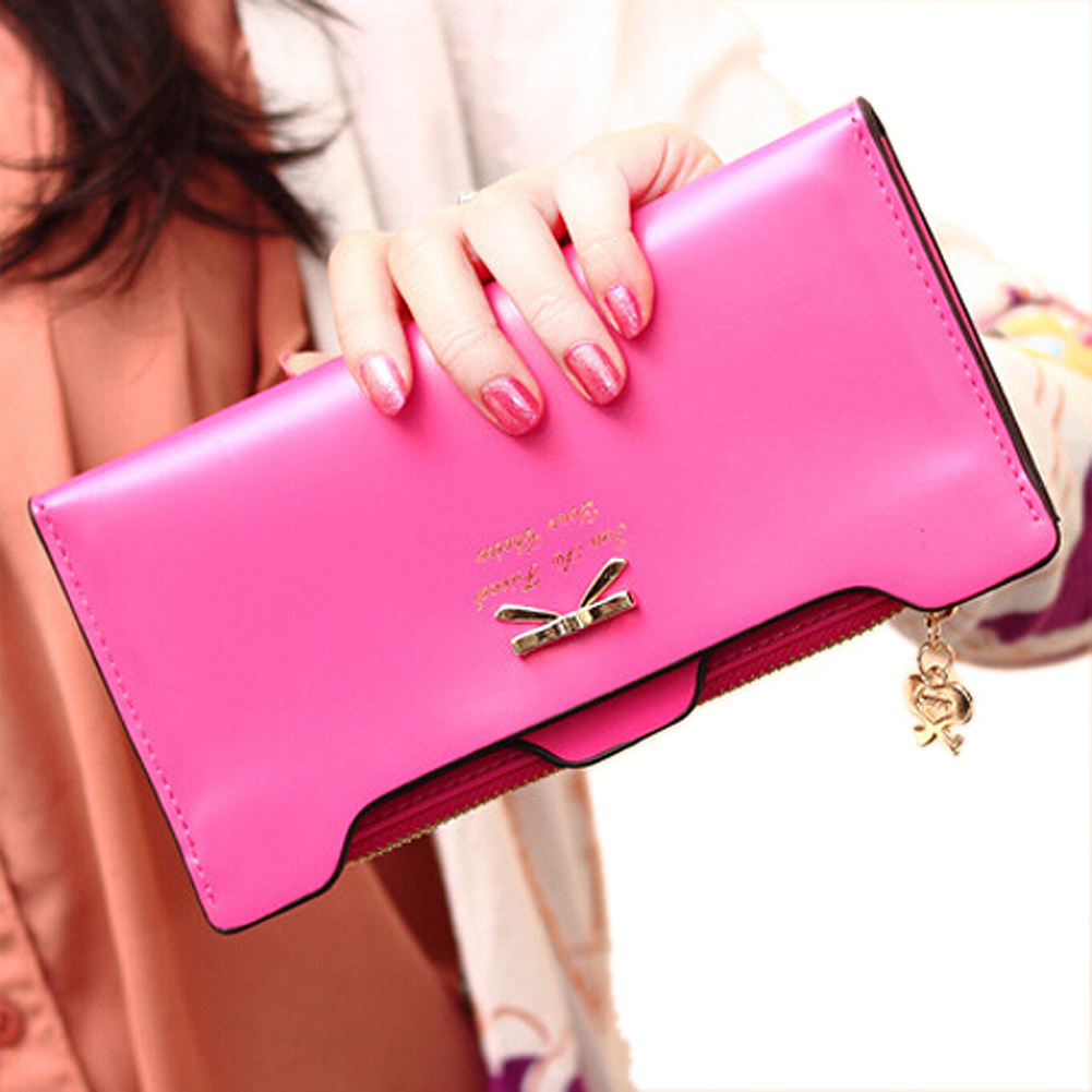 Hot Fashion Fashion Soft Leather women wallets Bowknot Clutch bag Long PU Card Purse,wallet for womens-royal blue auau soft leather women wallets bowknot clutch bag long pu card purse wallet for womens rose red