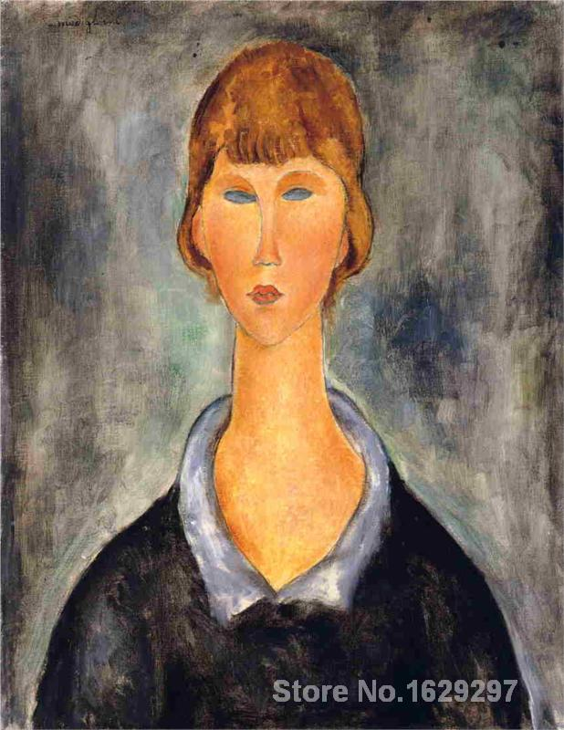 Modern painting abstract Portrait of a Young Woman II by Amedeo Modigliani High quality Hand paintedModern painting abstract Portrait of a Young Woman II by Amedeo Modigliani High quality Hand painted