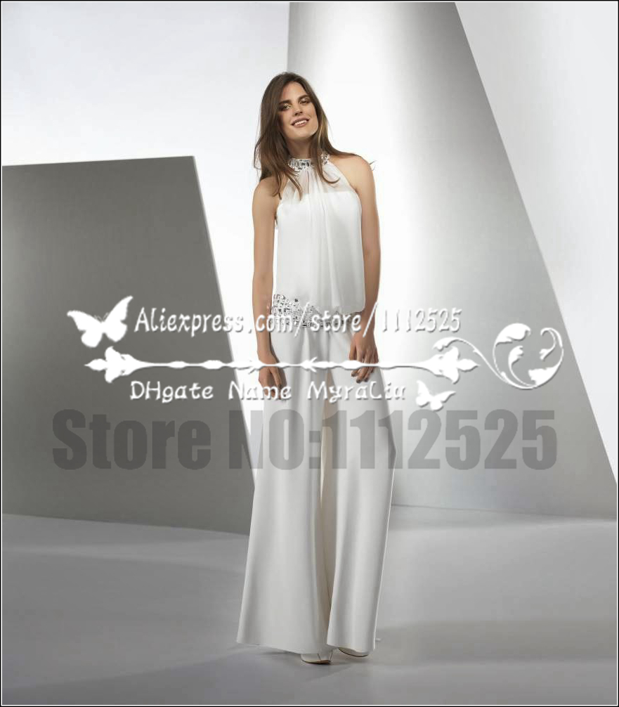 Awp 1006 Modern Bridal White Chiffon Jumpsuit Wedding Dresses With