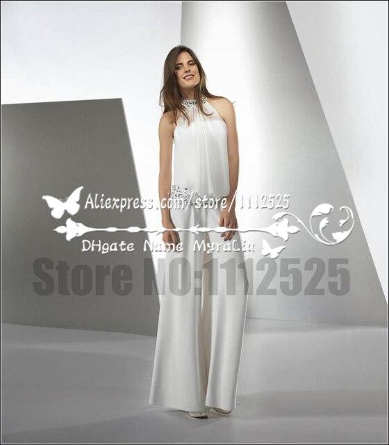 ead1aaace274 AWP-1006 da sposa moderna bianco chiffon tuta abiti da sposa con trapano  vetro tailleur