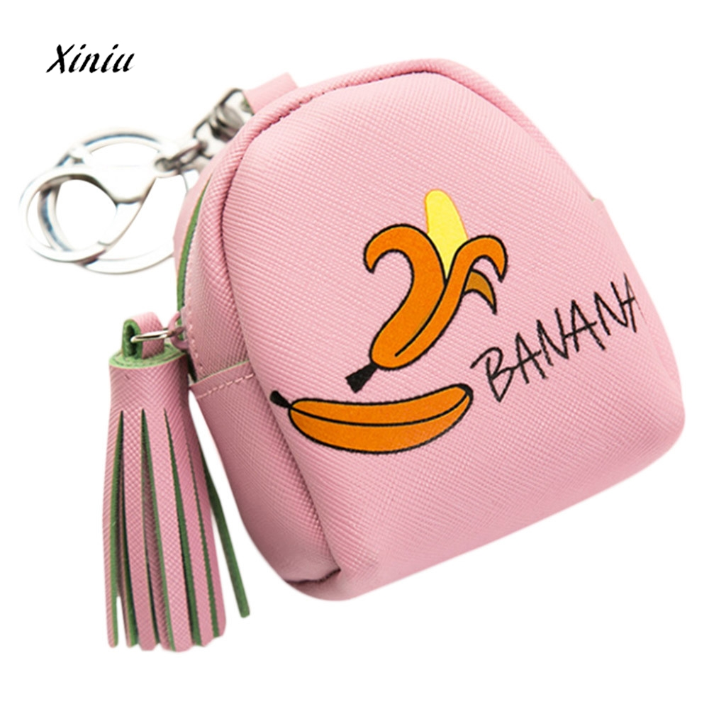 Women Girls Snacks Coin Purse Wallet Bag Fashion Cute Fruit Pattern Leather Portable Ladies Small Change Pouch Key Holder Bags