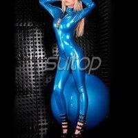 Suitop женская латекс Зентаи на шнуровке латекс сексуальное боди синий металлик комбинезон