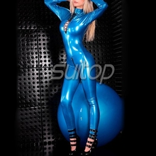 Suitop women's rubber latex zentai lace up latex sexy bodysuit Metallic blue catsuit