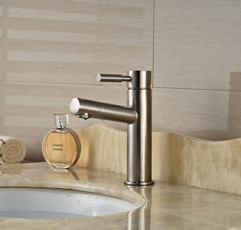 Contemporary Brushed Nickle Basin Faucet Bathroom Vessel Sink Tap Hot&Cold Tap
