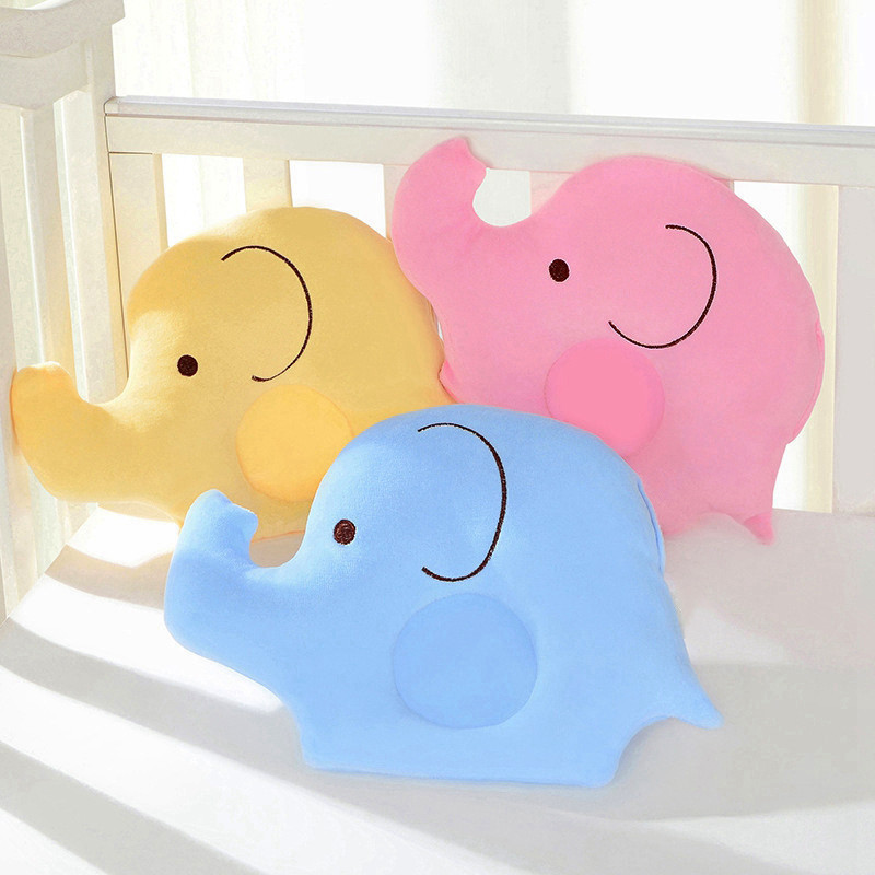 New Baby Soft Cotton Lovely Pillow Cartoon Elephant Shape Pillow Sleep Head Positioner Anti-rollover Skin Friendly Sleep Bedding