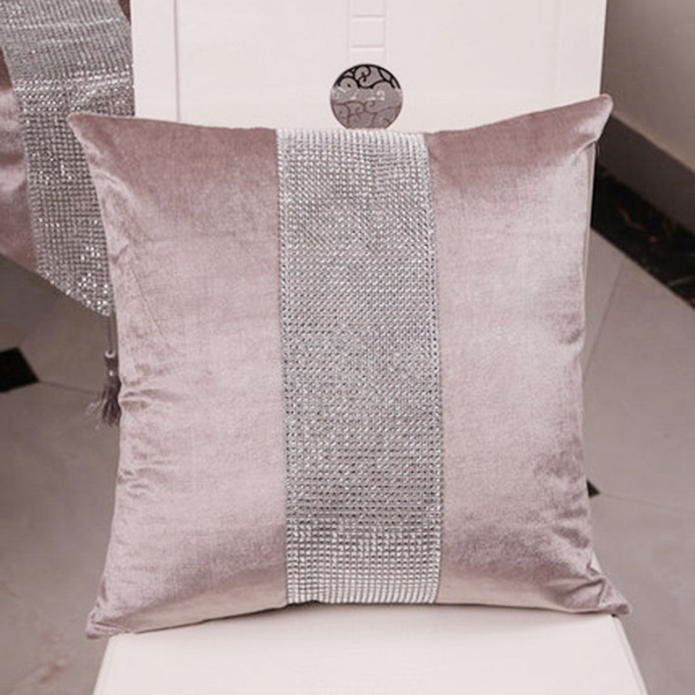 Decorative Pillow Case Flannel Diamond Patckwork Modern Simple Throw Cover Pillowcase Party Hotel Home Textile 45cm*45cm(China)