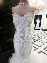 Luxury Amazing Real Photos Mermaid Sweetheart Diamond Beaded Lace Up Back Sweep Train Expensive Wedding Dress Bridal Gown MF420