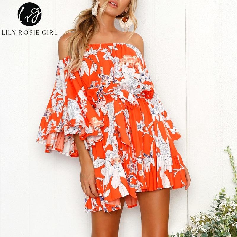 Lily Rosie Girl Off shoudler summer floral print dress Women sexy beach dress Sashes short red dress vestidos 2018