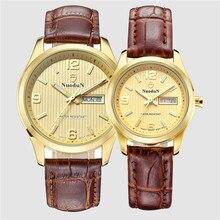 Горячие Продажи Nuodun Марка Пару Часов Для Любителей Моды Простой Кварцевые Часы Кожа мужчины Наручные Часы Женщины Relógio Masculino