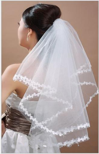 2019 Tulle Appliques Bridal Veil One Layer White Ivory Bridal Hair Accessories Tulle Short Cheap Bride's Wedding Hair Veil