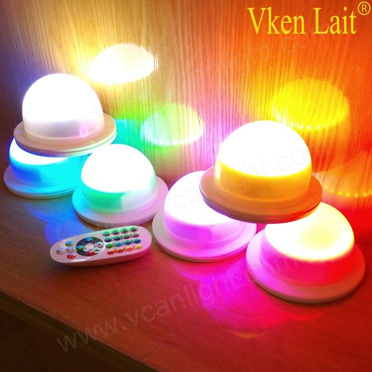 50 PCS/lot LED étanche éclairage de meubles batterie Rechargeable RGBW couleur changeante télécommande lumières de piscine