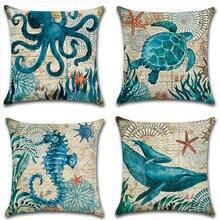 Sea Turtle Printing Cushion Cover Marine Ocean Animal Patterns Sea Horse Octopus Pillow Case Linen Home Sofa Decor Pillowcase автозапчасть sea horse m3
