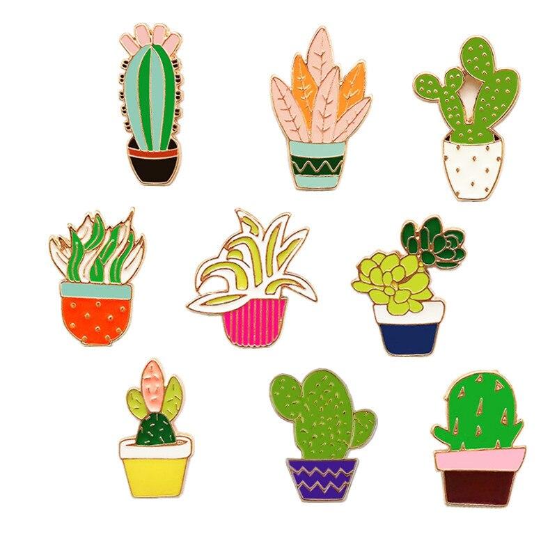 Kaktus emalj pin brosch uppsättning Suckulent Potted metal Pins Satser klänning hatt väska Färgglada Broschyrer kvinnor Växter Badge sommar broscher