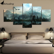 ArtSailing Modular 5 panels the elder scrolls v skyrim Poster Wall Art art For Pictures Living Room Canvas Painting