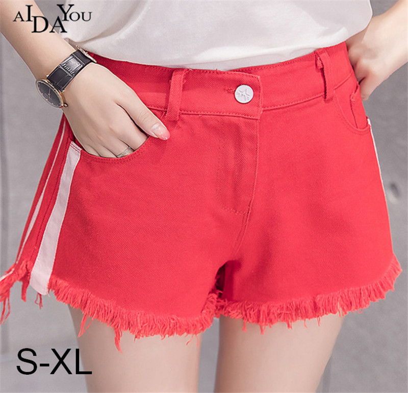 Korea style Summer Women Shorts denim hot mid Waisted stripe Jeans candy color Casual pocket sexy