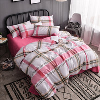 อินเทรนด์สีขาวสีแดงลายสก๊อตแบบสิ่งทอที่บ้านผ้าปูที่นอนผ้า3/4ชิ้นผ้าคลุมเตียง