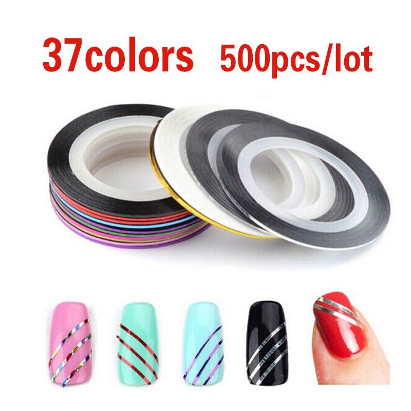 500 pcs 37 cores Rolls Striping Tape Linha Fio Metálico Quente Adesivo 3D Nail Art Beleza Decoração Adesivo Atacado