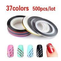 500pcs 37colors Hot Metallic Yarn Line Rolls Striping Tape Adhesive 3D Nail Art Beauty Sticker Decoration Wholesale